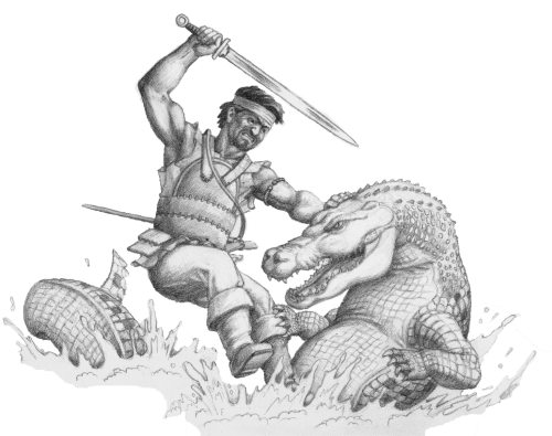 Warrior and river dragon
